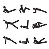 Silhouette of a man. Fitness. Icons. Exercises for the abs. Silhouette of a man. Icons Stock Photo
