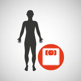 Silhouette man fitness weight scale Royalty Free Stock Image