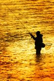Silhouette of Man Flyfishing Fishing in River Golden Sunlight surrounding him early morning fisherman royalty free stock images