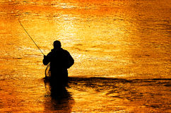 Silhouette of Man Flyfishing in River Royalty Free Stock Photos