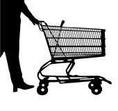 Silhouette of the man following purchases with a wheelbarrow. On a white background Stock Illustration