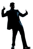 Silhouette man full length double thumb up Stock Photo