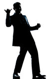 Silhouette man full length happy saluting Royalty Free Stock Images