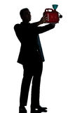Silhouette man full length out of gas begging Stock Image