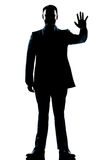 Silhouette man full length saluting high five Stock Photography