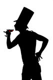 Silhouette of a man with a glass of red wine Royalty Free Stock Photography