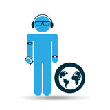 Silhouette man globe technology wearable Royalty Free Stock Image