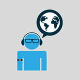 Silhouette man globe technology wearable Royalty Free Stock Photography