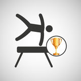 Silhouette man gymnastic pommel horse trophy Royalty Free Stock Photography
