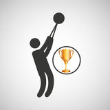 Silhouette man hammer throw athlete trophy. Vector illustration eps 10 Royalty Free Stock Images