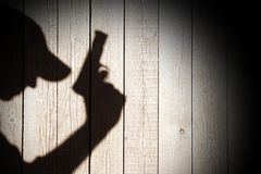 Silhouette of a man with a handgun, XXXL image Royalty Free Stock Images