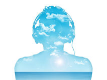 Man listening to the music in perfect harmony. Silhouette of a man in headphones listening to the music, nice blue sea landcape inside him Vector Illustration