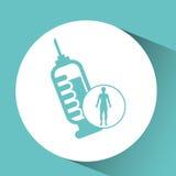 Silhouette man health icon syringe Royalty Free Stock Photo