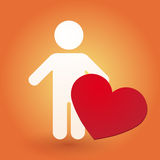 Silhouette of man with heart Royalty Free Stock Photo
