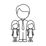Silhouette man her girls twins icon Stock Photo