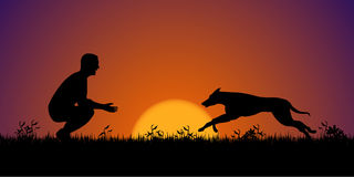Silhouette of a man with his dog on the grass. Dog training conc Royalty Free Stock Images