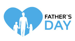 Silhouette Man Hold Hands Children Son Daughter Father Day Holiday Royalty Free Stock Images