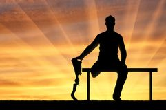 Concept of people with prosthetic legs Stock Image