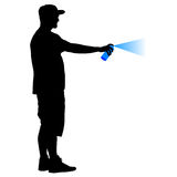 Silhouette man holding a spray on a white background. Vector illustration Stock Image