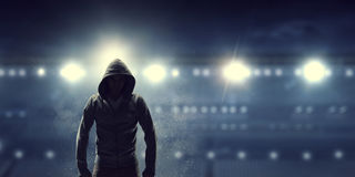 Silhouette of man in hoody Royalty Free Stock Image