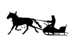 Silhouette of man with horse drawn sled Royalty Free Stock Images