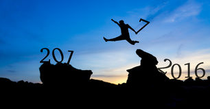Silhouette man jumping. Between 2016 and 2017 Royalty Free Stock Photos