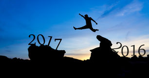 Silhouette man jumping. Between 2016 and 2017 Royalty Free Stock Photo