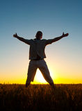 Silhouette of man jumping high in the wheat field Royalty Free Stock Photo