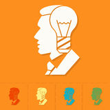 Silhouette of Man with Light Bulb, Idea Concept. Business and Finance, Single Flat Icon. Simple and Minimalistic Style. Vector Stock Image