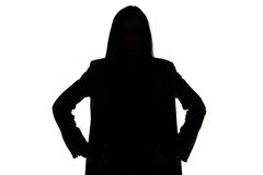 Silhouette of the man with long hair Royalty Free Stock Image