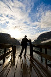 Silhouette of man looking on lake Royalty Free Stock Photo