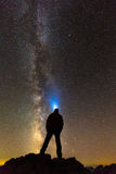 Silhouette of a man looking at stars. Silhouette of an explorer at night looking up to the Milky Way Royalty Free Stock Images