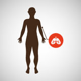 Silhouette man with lungs organ body icon Stock Photography