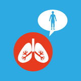 Silhouette man with lungs organ body icon Royalty Free Stock Photo