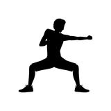 Silhouette man martial arts defense position punch. Vector illustration Royalty Free Stock Photos