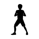 Silhouette man martial arts front defense position. Vector illustration Royalty Free Stock Images