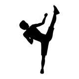 Silhouette man martial arts high kick. Vector illustration Stock Photography