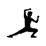 Silhouette man martial arts kick down. Vector illustration Stock Images