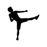 Silhouette man martial arts kick. Vector illustration Royalty Free Stock Image