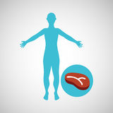 Silhouette man meat food design Royalty Free Stock Image