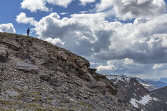 Silhouette of a Man on a Mountain - Jasper National Park Royalty Free Stock Image