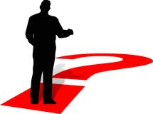 Silhouette of  man with one red question Royalty Free Stock Photos