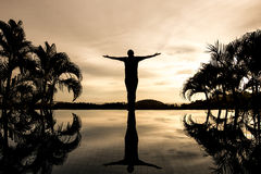 Silhouette man open arms Royalty Free Stock Photography