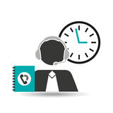 Silhouette man operator call center 24 hours. Vector illustration eps 10 Royalty Free Stock Photo