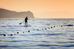 A man paddling on a paddleboard. Silhouette of a man paddling on a surfboard towards the open sea alongside the floats at sunset time Royalty Free Stock Photos