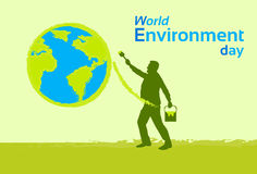 Silhouette Man Painting Earth Globe Green World Environment Day Royalty Free Stock Image