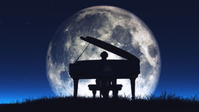 Silhouette of a  man playing the piano Stock Images