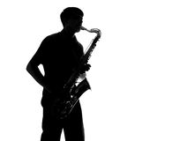 Silhouette of a man playing the sax Royalty Free Stock Image