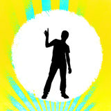 Silhouette of pointing man. Silhouette of a man pointing up on a white circle on a colorful background Royalty Free Stock Photography