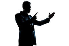 Silhouette man portrait angry menacing Stock Image